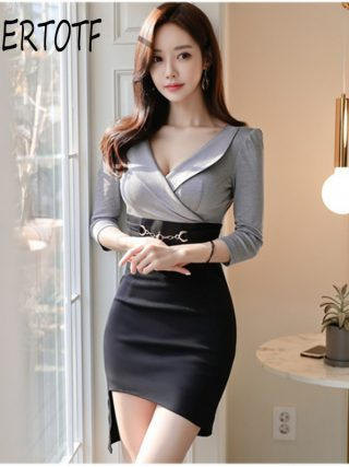 19 Korean version of the new OL temperament V-neck Slim thin bag hip irregular half sleeve women's dress
