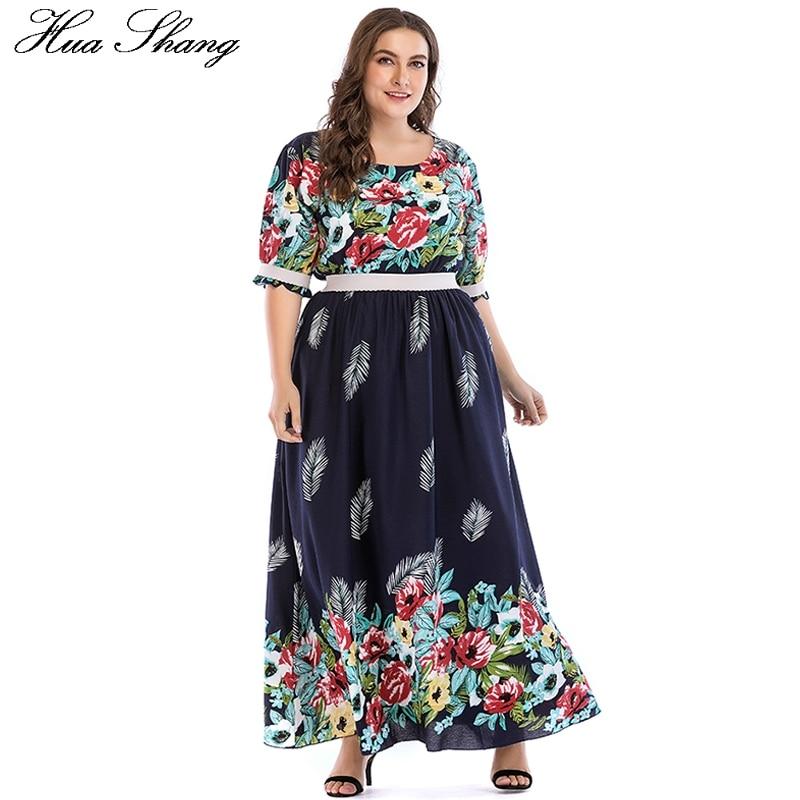 Floral Boho Dresses For Women Plus Size 5xl Summer O Neck Half Sleeve High Waist Long Chiffon Dress Tunic Casual Beach Dresses 1