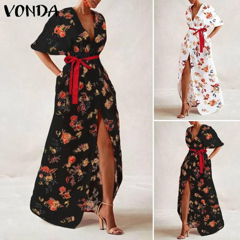 VONDA Women Vintage Printed Maxi Long Party Dress Sexy V Neck Short Sleeve Casual Loose Summer Beach Dresses Plus Size Vestidos 2