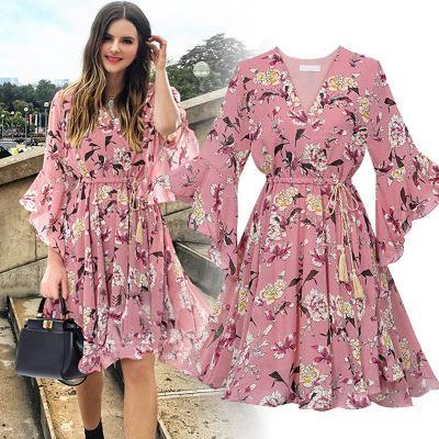 Chiffon High Elastic Waist Party Dress Bow A-line Women Butterfly Sleeve Flower Print Floral Boho Dress Female Vestido Plus Size 3