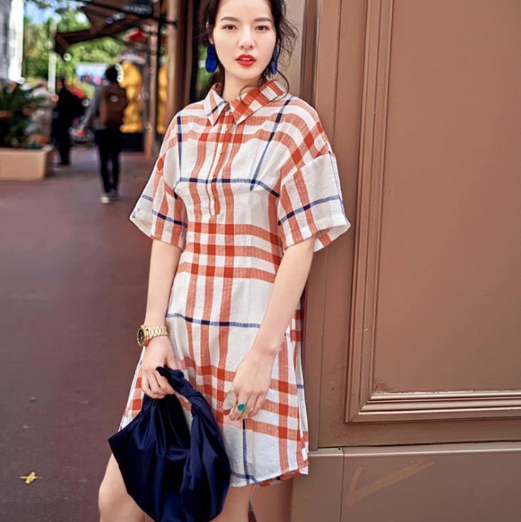Summer Designer Polo Shirt Dress Half Sleeve Plaid Short Dress Vintage Casual Sundress Vestidos 1