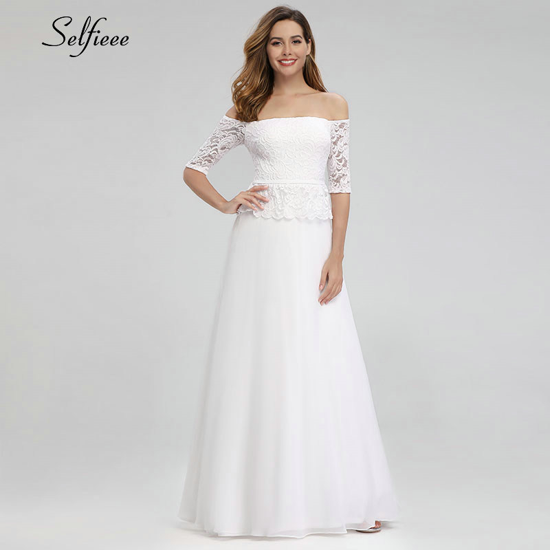 Elegant White Maxi Dresses Off The Shoulder A-Line Half Sleeve White Lace Women Long Summer Dresses Robe Longue Femme Ete 19