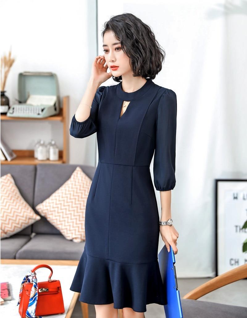 Formal OL Styles Half Sleeve Middle Long Business Women Dress Office Ladies Work Wear Summer Dresses Slim Hips Female Vestidos 2