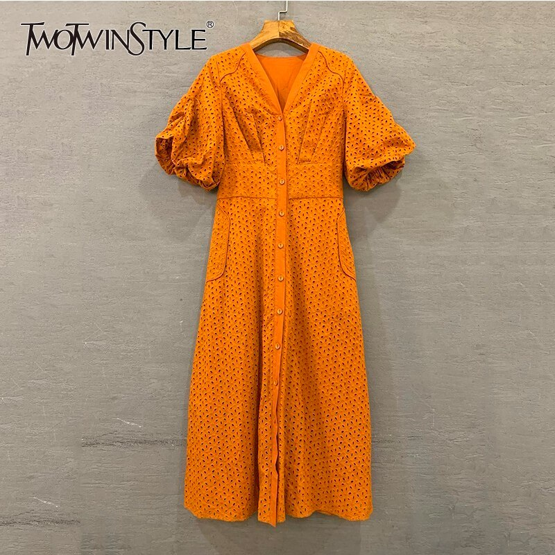 TWOTWINSTYLE Summer Vintage Solid Women Dress V Neck Puff Sleeve High Waist Button Hollow Out Midi Dresses Female Fashion 19