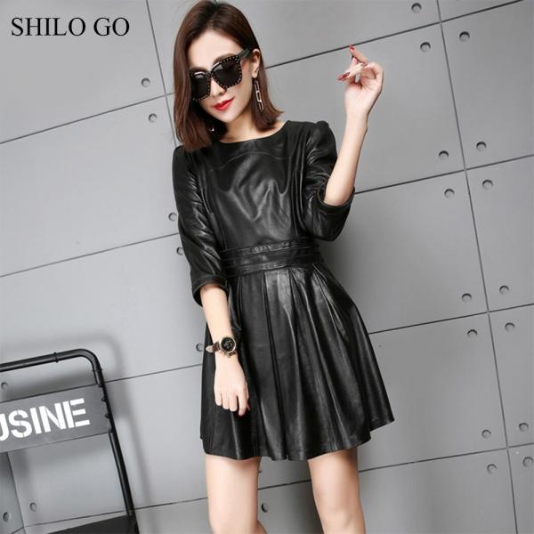 SHILO GO Leather Dress Womens Spring Fashion sheepskin genuine leather dress O Neck half sleeve office lady pleated dress