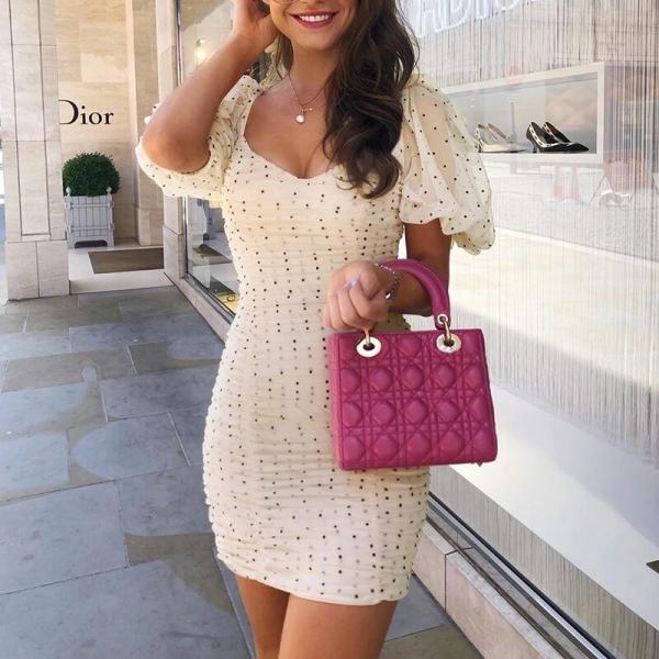 NLW Polka Dot Elegant Dress Sexy Off Shoulder Party Short Dress Ruffle Mesh Elastic Mini Dress Vintage Slim Half Sleeve Dress