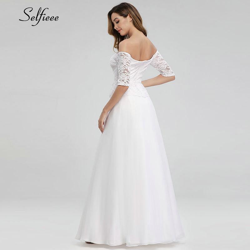 Elegant White Maxi Dresses Off The Shoulder A-Line Half Sleeve White Lace Women Long Summer Dresses Robe Longue Femme Ete 19 2