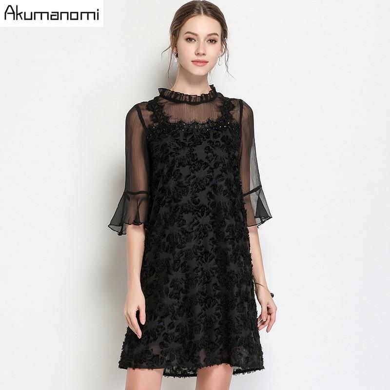 summer Voile Dress women clothing black Ruffled flare half Sleeve mini dress High Quality Plus Size 5XL 4XL 3XL 2XL XL L M 2