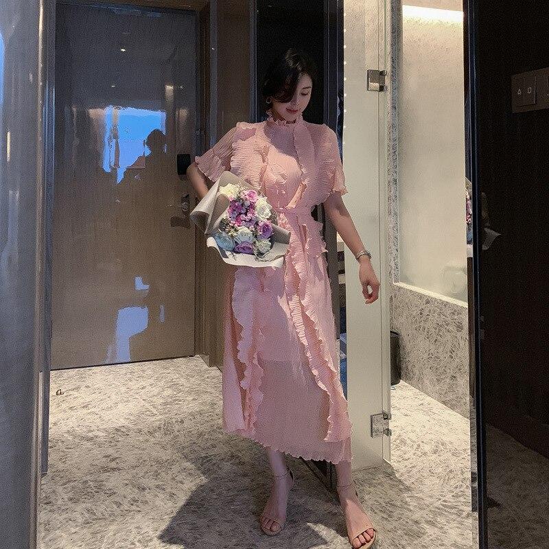 Summer High-end Women Dresses Stand-up Collar Half Sleeve Ruffles Dress woman Bandage Sexy Party Dress Ladies Elegant Vestidos 3