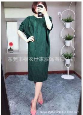 HOT SELLING Miyake Fashion fold o-neck half sleeve Embossed loose batwing sleeve dress IN STOCK 3