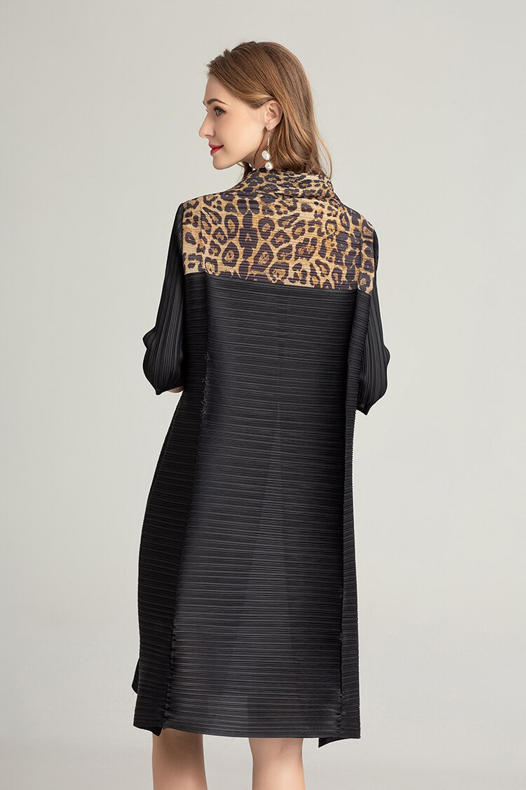 FREE SHIPPING Miyake Fashion fold half sleeve patchwork Leopard stand neck dress IN STOCK 3