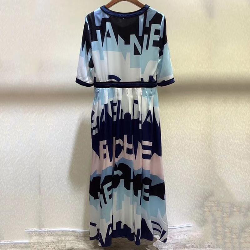 Women Dress Print Half Sleeve Dress 19 Autumn Ladies Long Dress Elegant 3