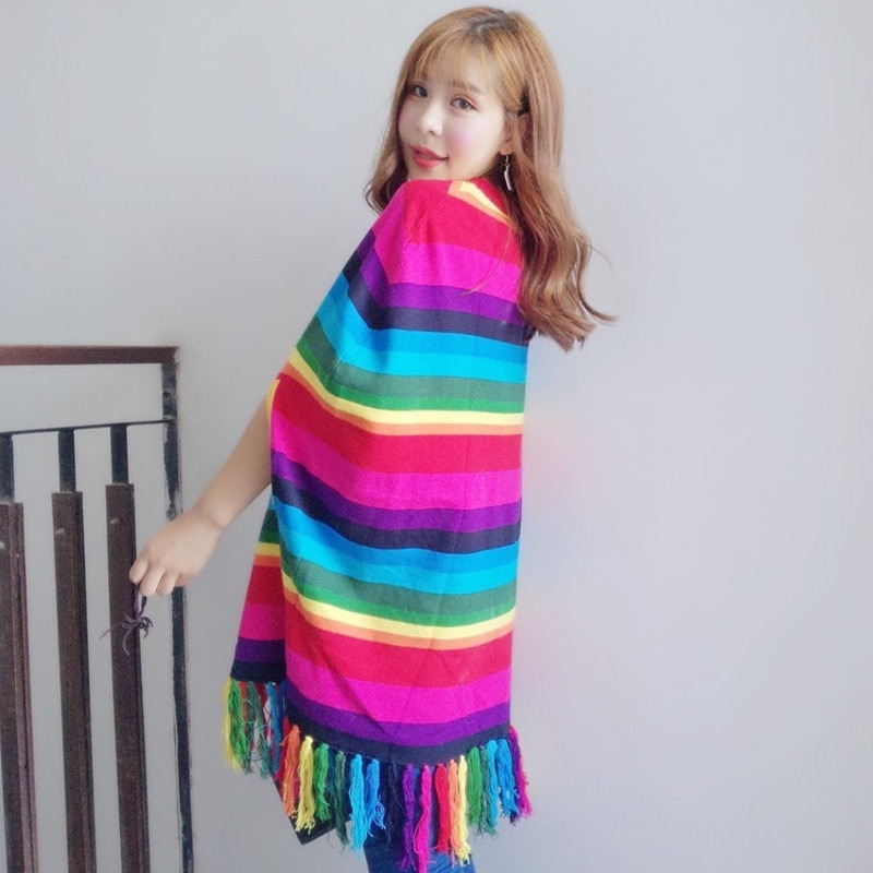 Vefadisa Women Rainbow Color Striped Tassel Sweater Dress Embroidery Tiger Head Cloak Dress DQ538 2