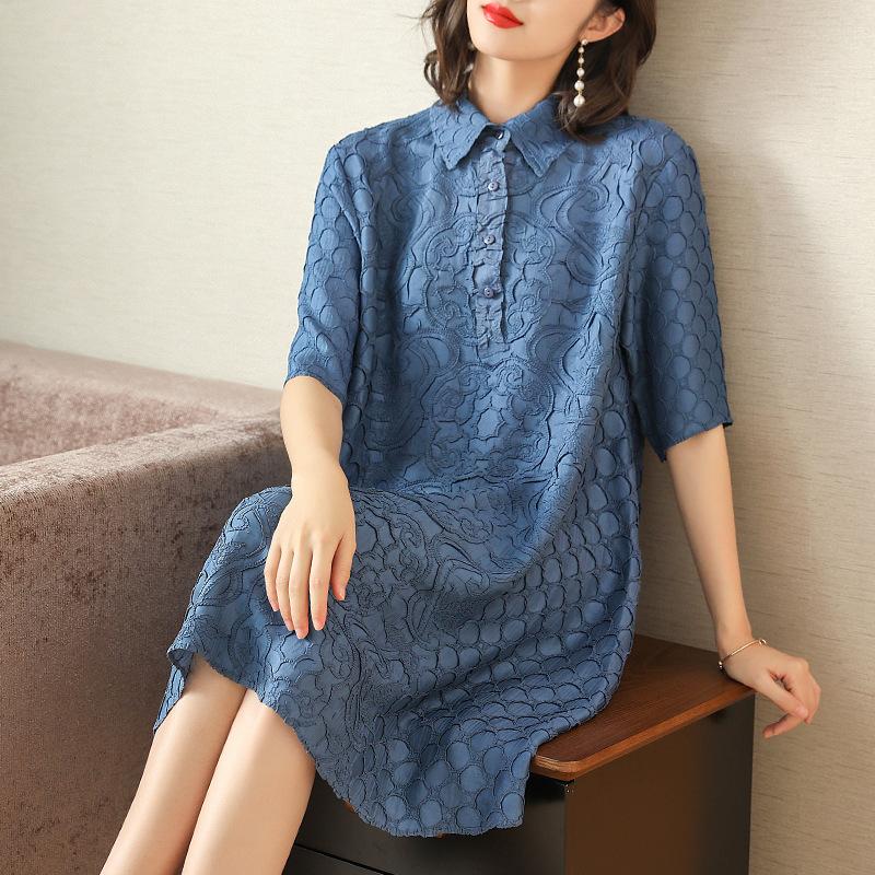 Plus Size Dress Summer Women Loose Elegant Casual Dress New Fashion Turndown Collar Half Sleeves Miyake Pleated Dresses 1