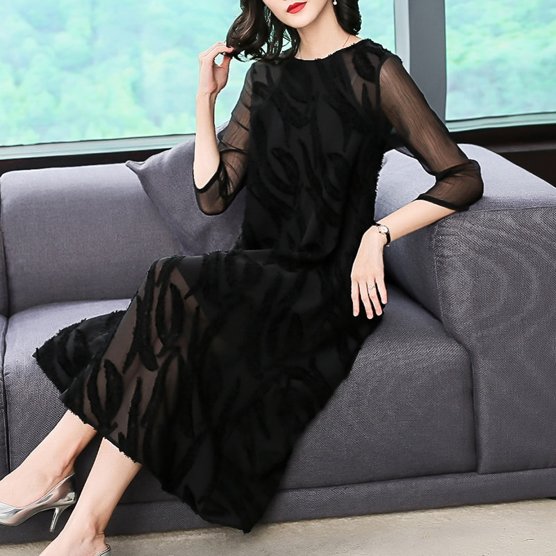 Plus Size Women Clothing Autumn Dresses Fashion Back Lace Casual Costume Lady Half Sleeves A-Line Dress Office Lady Dress 1