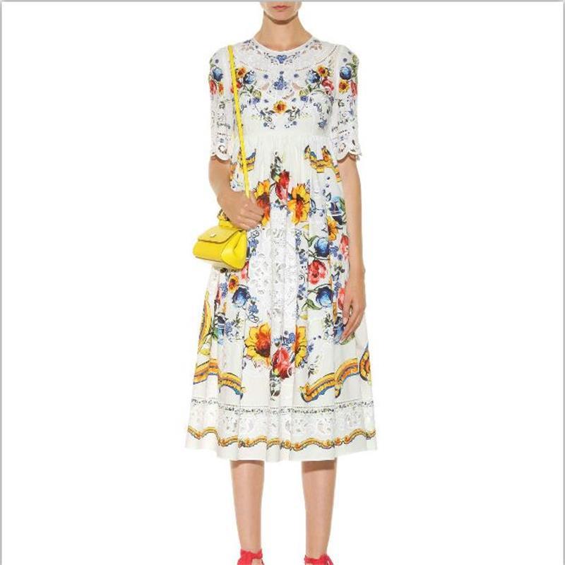 Women Summer Dress 18 High Quality Designer Runway O-neck Half Sleeve Embroidery Printed Elegant Party Dresses NPD0740