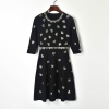 Black Spring Sweater Dress 19 chic A-line O-neck half sleeve Ladies Knitted Women Black Spring Sweater Dress 19 chic A-line O-neck half sleeve Ladies Knitted Dress High Quality Luxury Brand Women Dress