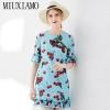 MIUXIMAO Top Quality 19 Ruway DesignFall Dress Newest Casual Dresses Women Cherryprint Ruffles Half Sleeve Dress Women
