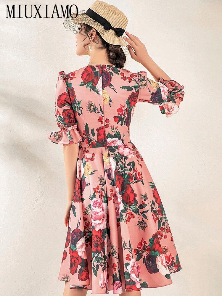 MIUXIMAO High Quality 19 Fall&spring Dress Luxurious Vintage Flare Sleeve Flower Print Elegant Casual Dress Women Vestidos 2