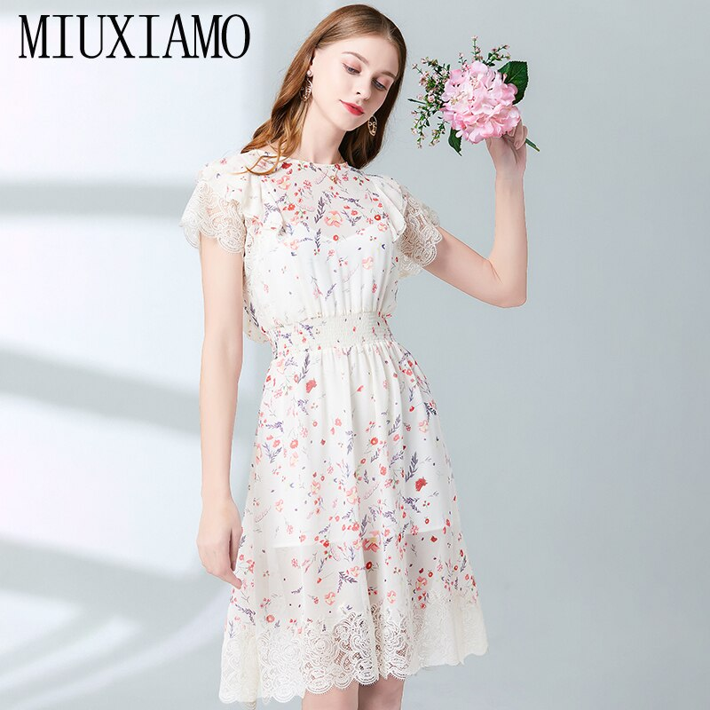 MIUXIMAO Top Quality 19 Fall Dress Flower Ptint Half Sleeve Dress Slim Lace Eleghant Cotton Casual Dress Women Vestidos