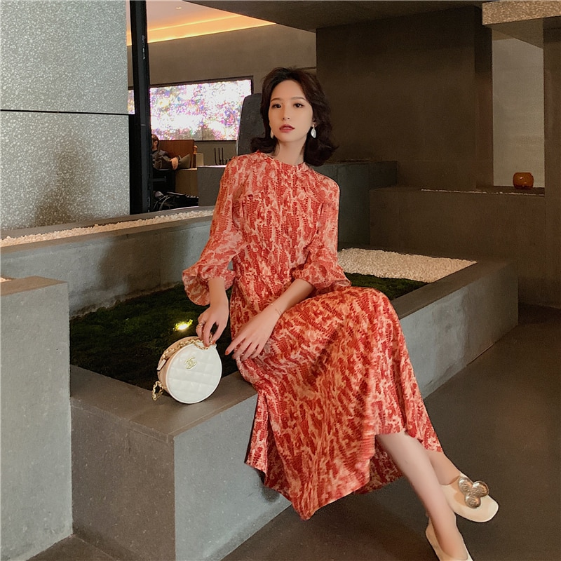 Vintage French Women Summer Dress Floral Printed Half Sleeve Elegant Hight Waist Petal Sleeve Sweet Midi Party Dresses 1