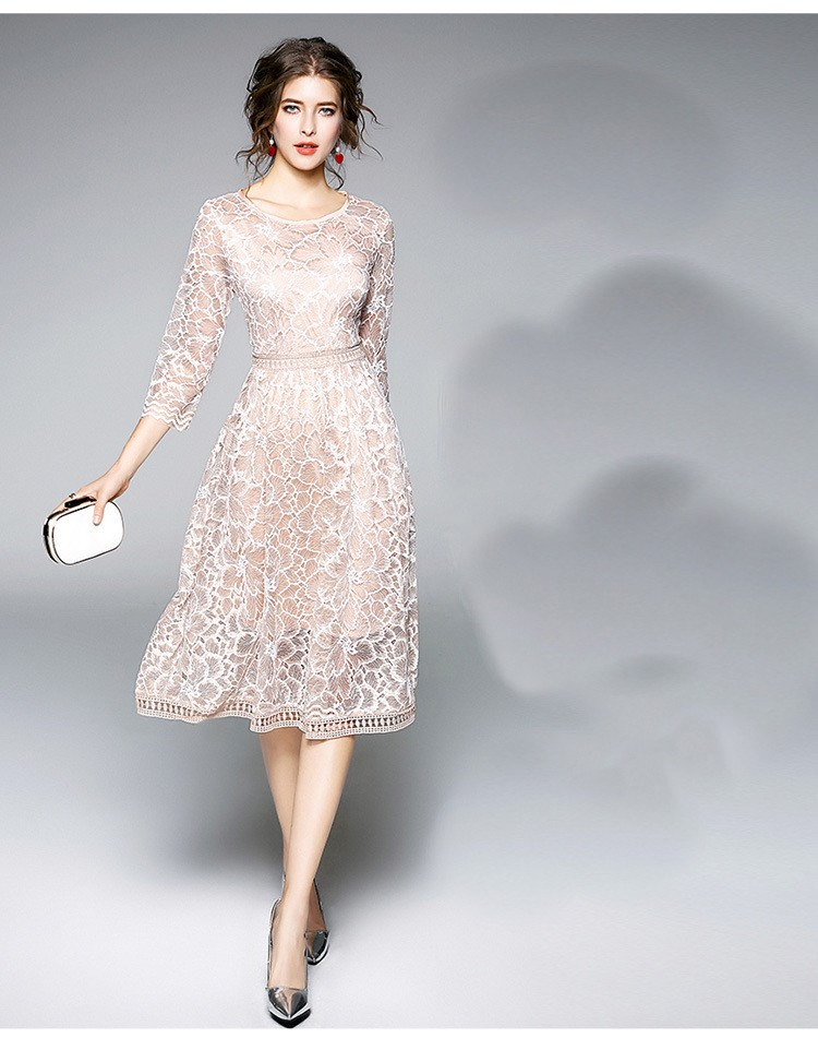19 New Arrival Spring Women Party Dress O-Neck Round Neck A-Line Lace Dress Half Sleeve Knee Length Casual Dress 2