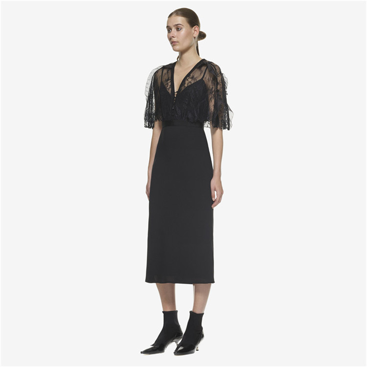 Self Portrait Runway Women Party Dress 18 Autumn Black Lace Patchwork Hollow Out Half Sleeve Bodycon Sexy V Neck Ladies Dress 2
