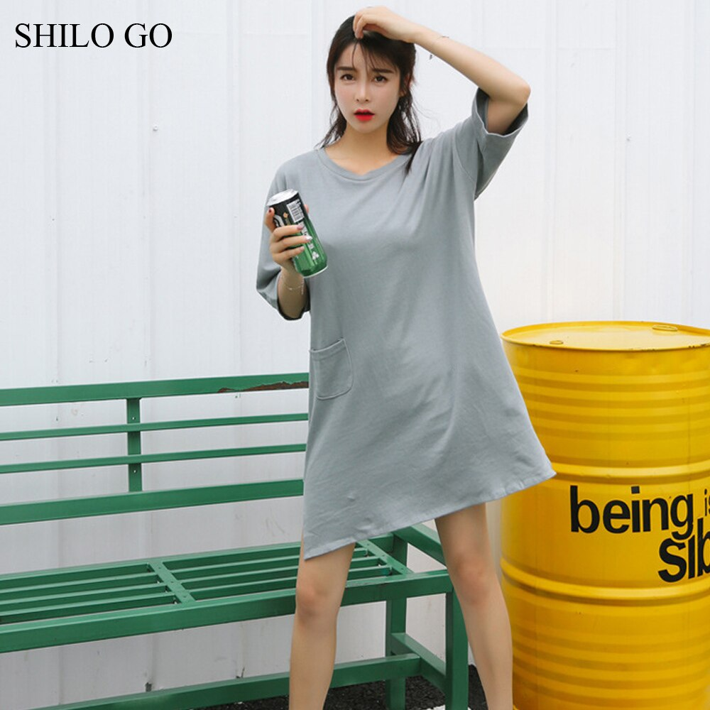 Dress Womens Summer Fashion Concise Casual O Neck half Sleeve dress front pocket loose grey cotton dress 2