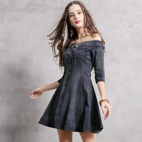 Summer Spring Woman Ladies Slash Neck Half Sleeve Slim Denim Dress , Stylish 19 Vintage Womens Female Ruffles Jeans Dresses