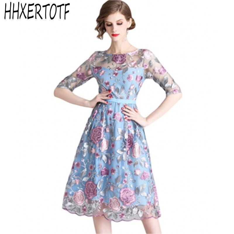 19 spring summer Women Mesh Embroidery half Sleeve Dress Designer Runway Heavy duty embroidered dresses 1