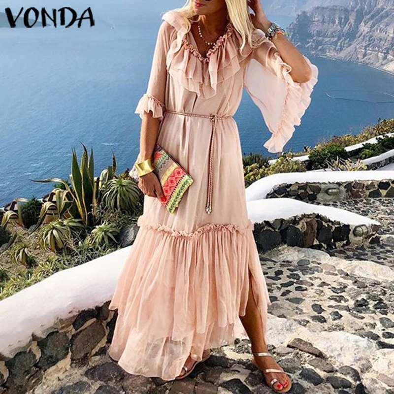 VONDA Solid Color Long Dress 19 Sexy V Neck Half Sleeve Vintage Dresses Beach Sundress Holiday Bohemian Vestidos Party Robe 2