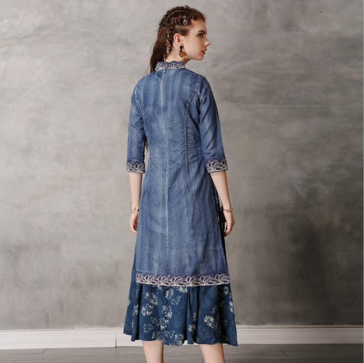 19 Autumn Elegant Vintage Denim Dress Embroridery Hit Color Half Sleeve Cheongsam Party Ladies Dress Vestidos 2