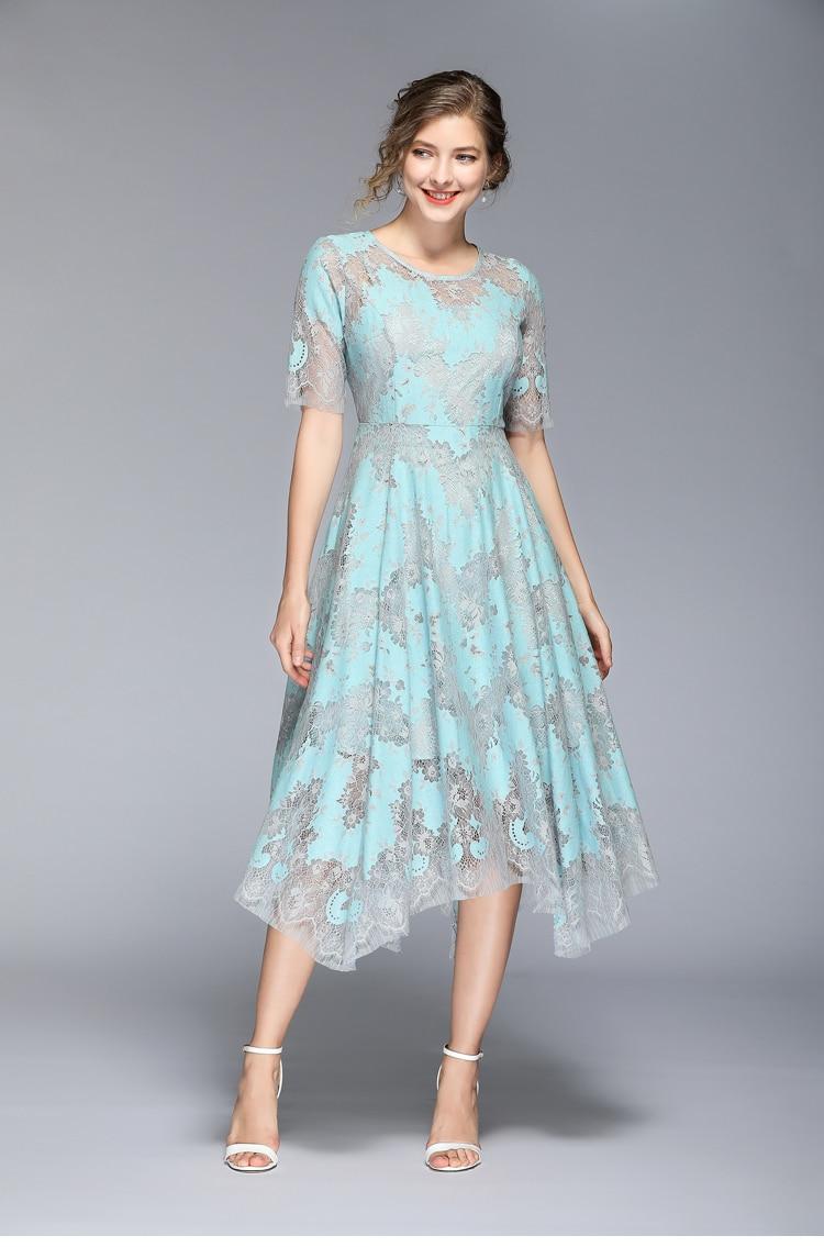 HAMALIEL High Quality Summer Women Lace Dress Vintage Runway Hit Color Half Sleeve Dress Fashion Print Hollow Out Midi Vestidos 3