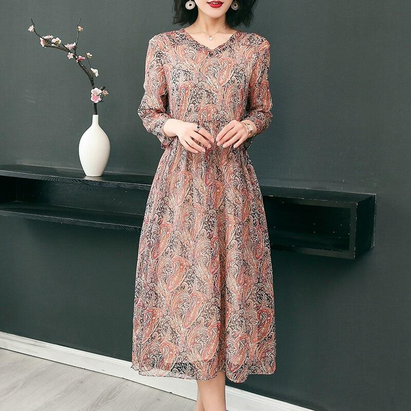 19 New Women's Clothing Spring Summer Fashion Flowers Printing V-neck Dress Half Sleeves Rayon Chiffon Dresses Female 1