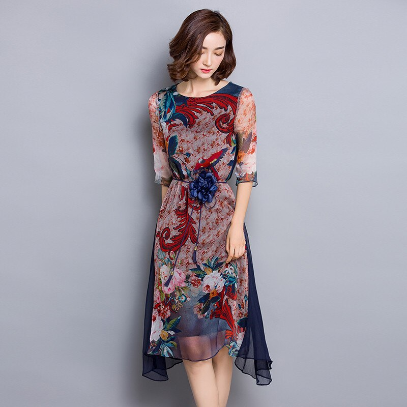 O-neck High Quality Vestidos Vintage Dress Floral Print Silk Dress Half Sleeve Loose Summer Dresses Casual Women Clothing FYY341 3