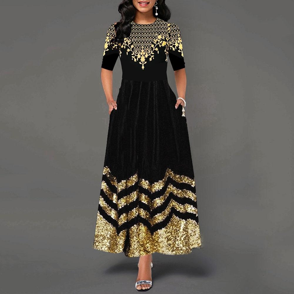 Women Round Neck Boho Dress Half Sleeve female elegant vintage floral printed a line pocket Black maxi dresses robe femme 19 1