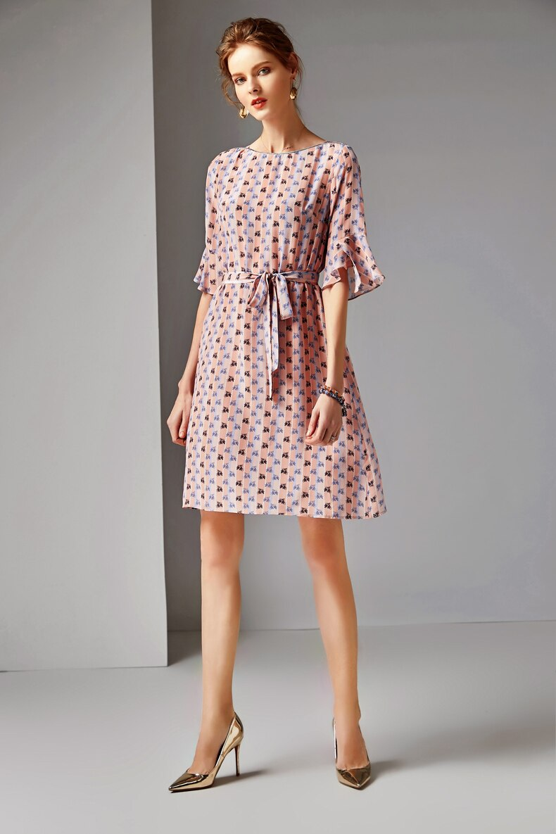 19 100% Silk Women's Runway O Neck Half Flare Sleeves Printed Sash Belt Floral Fashion Summer Dresses 3