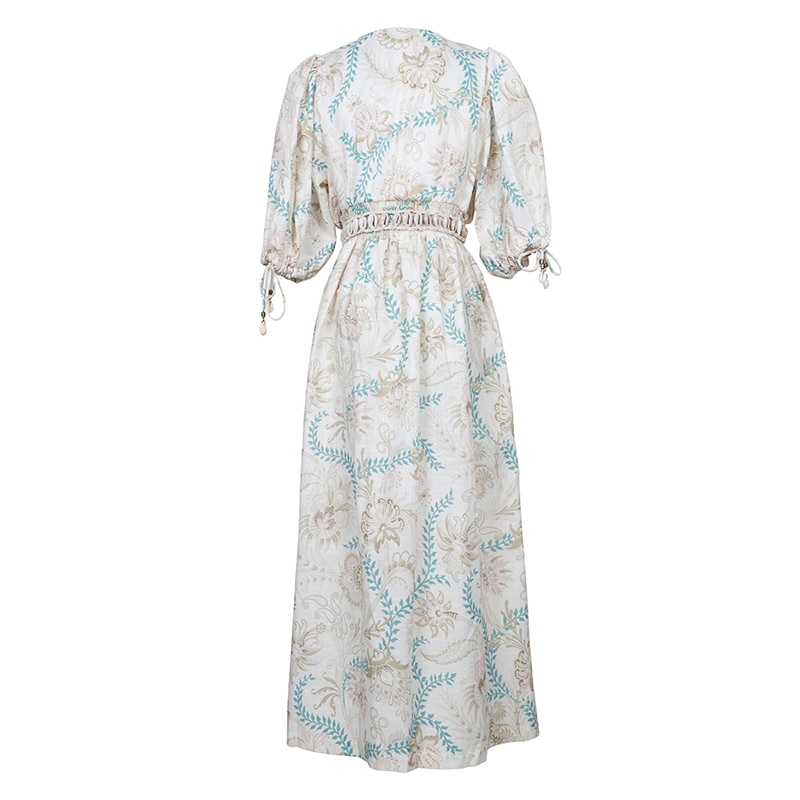 SEQINYY Vintage Dress  Summer Spring New Fashion Design Half Sleeve Flowers Printed Elastic Waist Linen Cotton Loose Dress 2