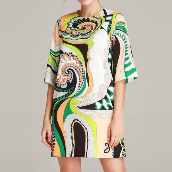 High quality 19 designer fashion summer dress Women's Half Sleeve Pattern Printed Sequined Beaded Vintage Straight Short Dress