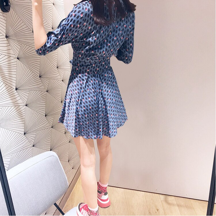 Women Blue Flower Print V Neck Wrap Dress Half Sleeve Mini Dress With Belt 3