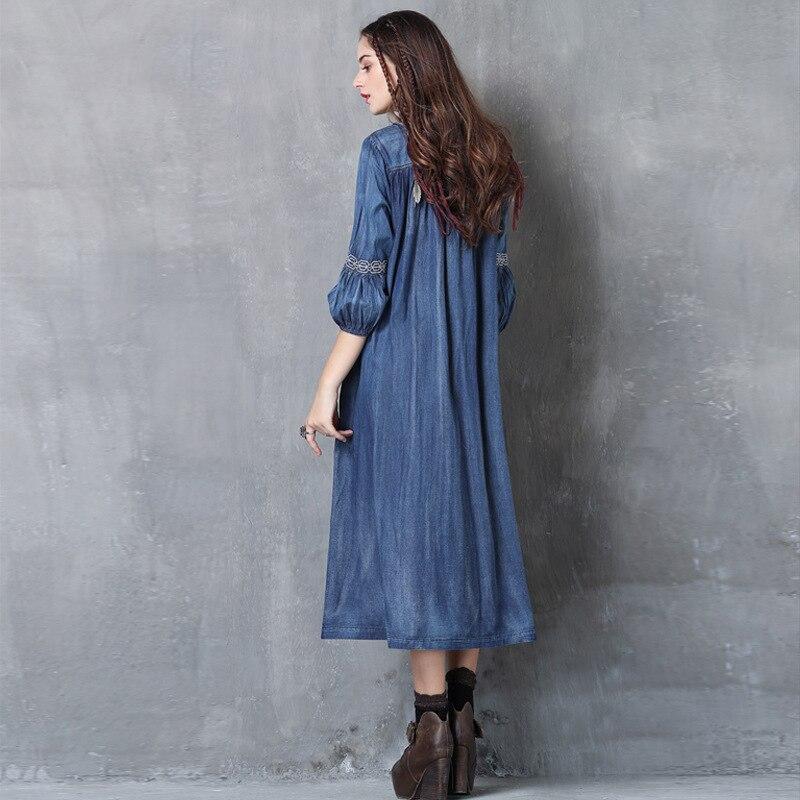 WSYORE Large Size Denim Dress Women 19 Spring Vintage Embroidered Half Sleeve Dress Casual Long Dresses Vestidos NS1148 2