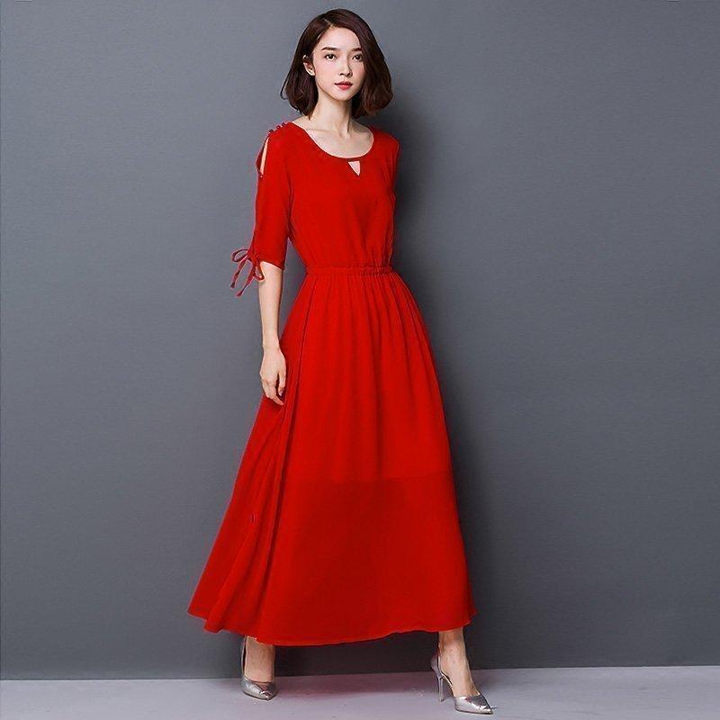 Summer Dress Women 18 New Bohemia Long Dress Solid Color Half Sleeve Plus Size 5XL Vestidos Female Chiffon Beach Dress AA178 3