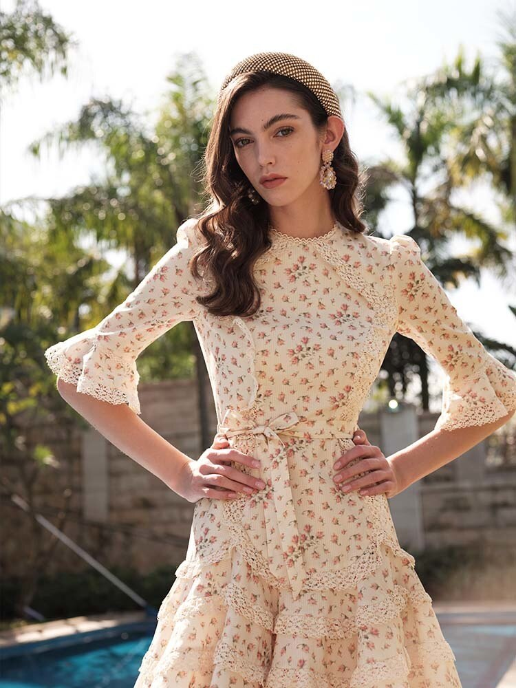 Prairie Chic Spring Boho Chic Women Floral Printed Lace Patchwork Ruffles Half Sleeve Fish Tail Dress dresses B031 2