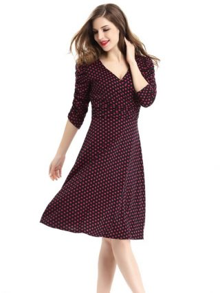 17 spring summer dress women princess elegant and ladies dress half sleeve dot casual dress for woman free shipping
