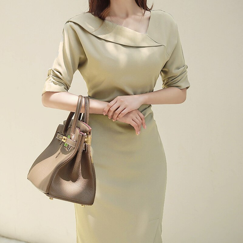 HAMALIEL High Quality Women Office Lady Pencil Dress Autumn Solid Sheath Half Sleeve Bodycon Slim Work Wear Formal Split Dress 2