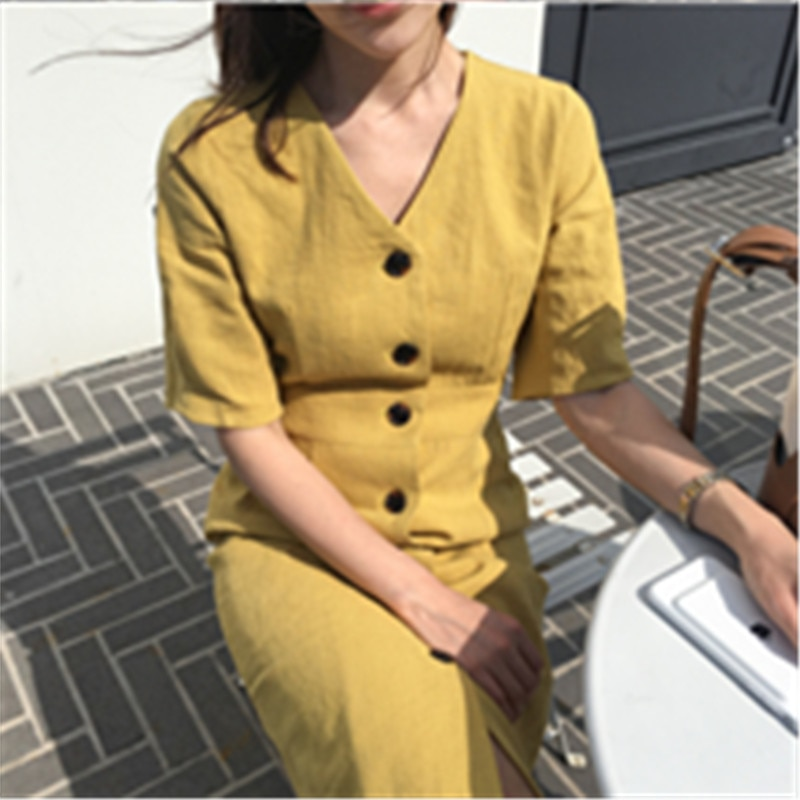 New Summer Dress Women Cotton Linen OL Casual Half Sleeve Dresses Female Dress V neck Solid Yellow Dress Boho Robe Femme Vestido 2