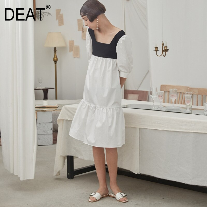 DEAT 19 new summer fashion women clothes White contrast colors Black Square collar half sleeves dress WF15300L 1