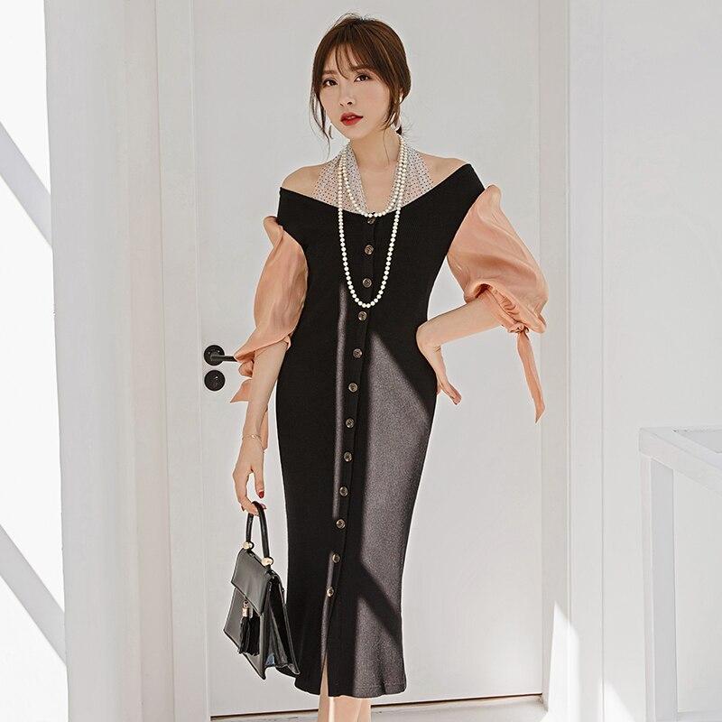 YIGELILA Autumn New Arrivals Patchwork Dress Slash Neck Half Sleeves Dress Hanging neck Lantern Sleeves Mid-calf Dress 65292 3