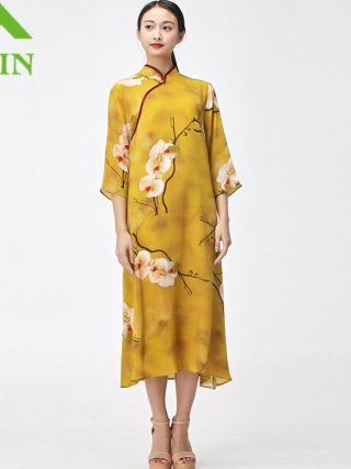 18 women silk dresses summer kleid floral printed nature silk vestidos half sleeve Long beach dresses loose sun dress yellow