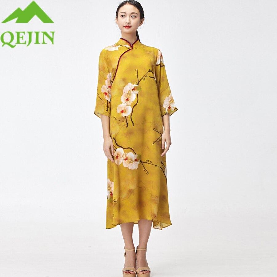 18 women silk dresses summer kleid floral printed nature silk vestidos half sleeve Long beach dresses loose sun dress yellow